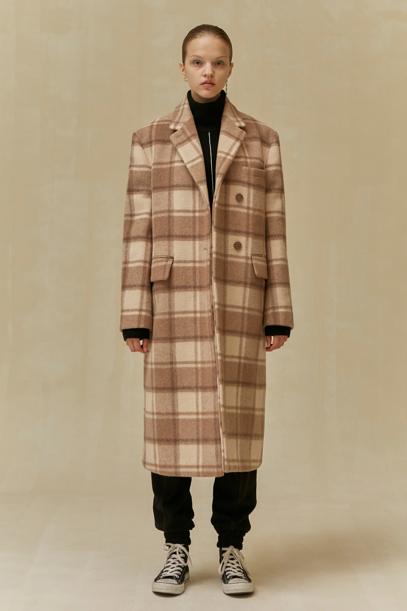 19 WINTER  LOCLE BASIC COAT - BEIGE CHECK