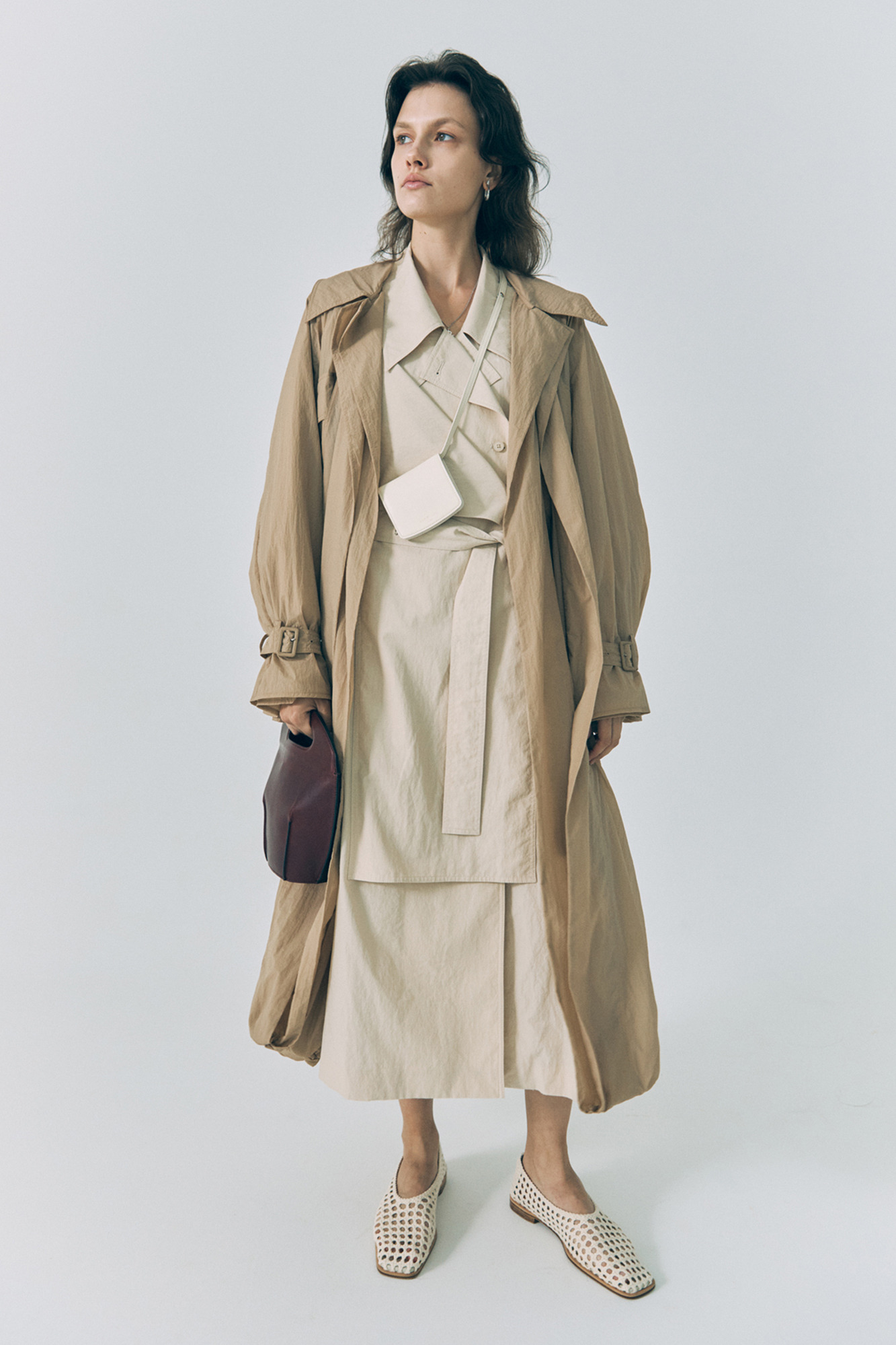 20SS DOUBLE TRENCH COAT - BEIGE