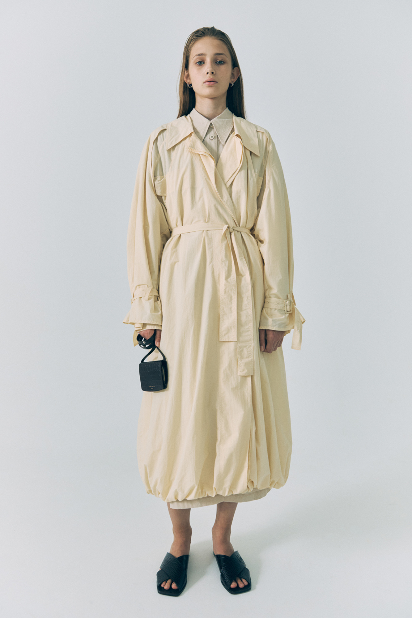 20SS DOUBLE TRENCH COAT - CREAM