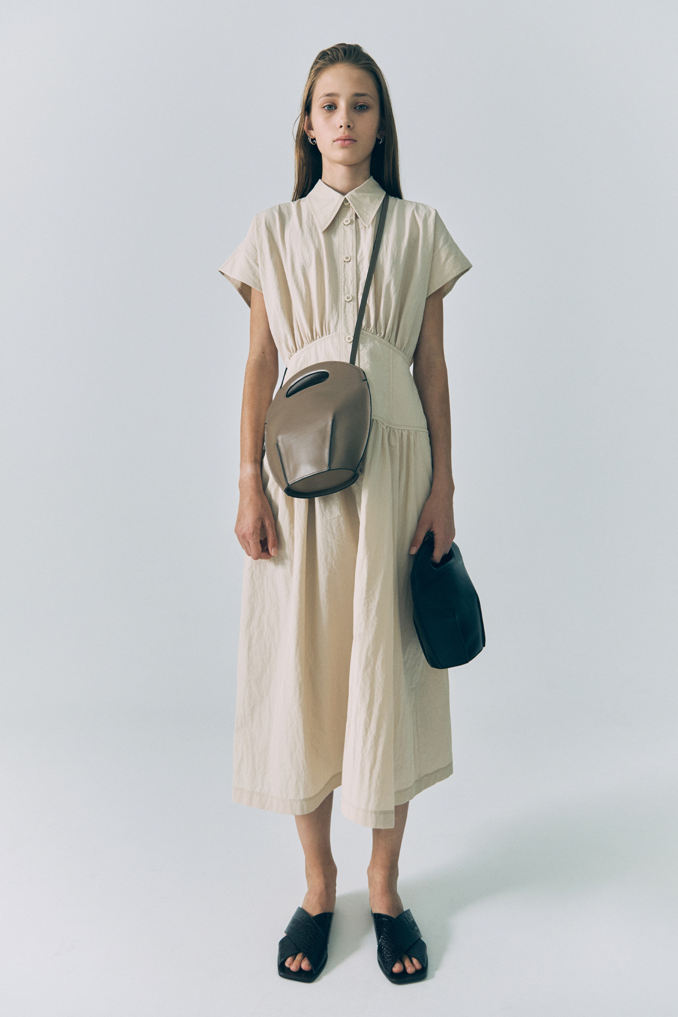 20SS WAIST SHIRRING DRESS - LIGHT BEIGE