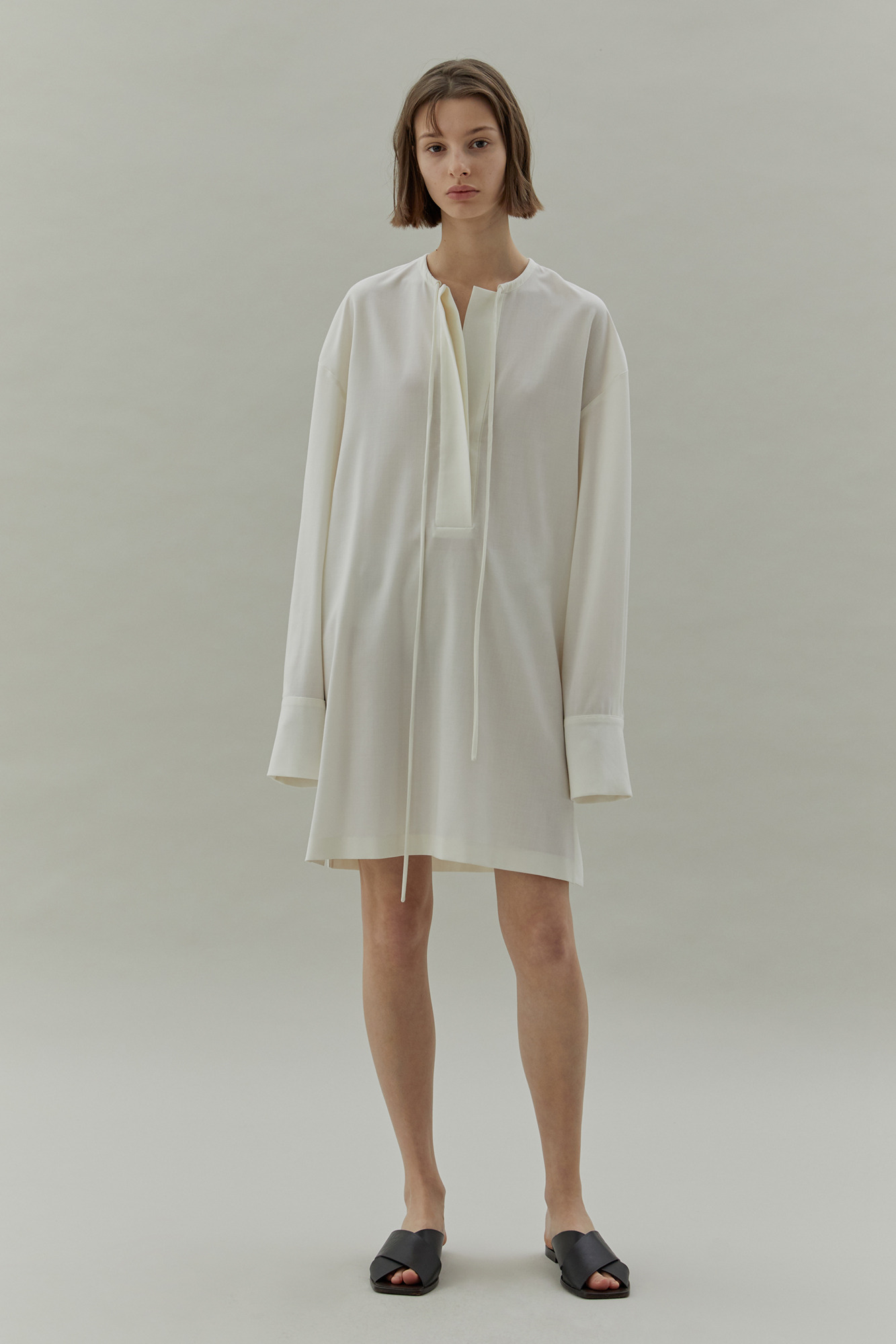 20SS SHIRRING NECK DRESS - IVORY